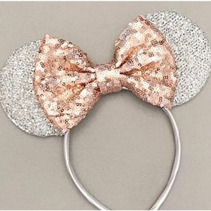 Rose Gold Disney Ears,Silver White Ears, Rose Gold